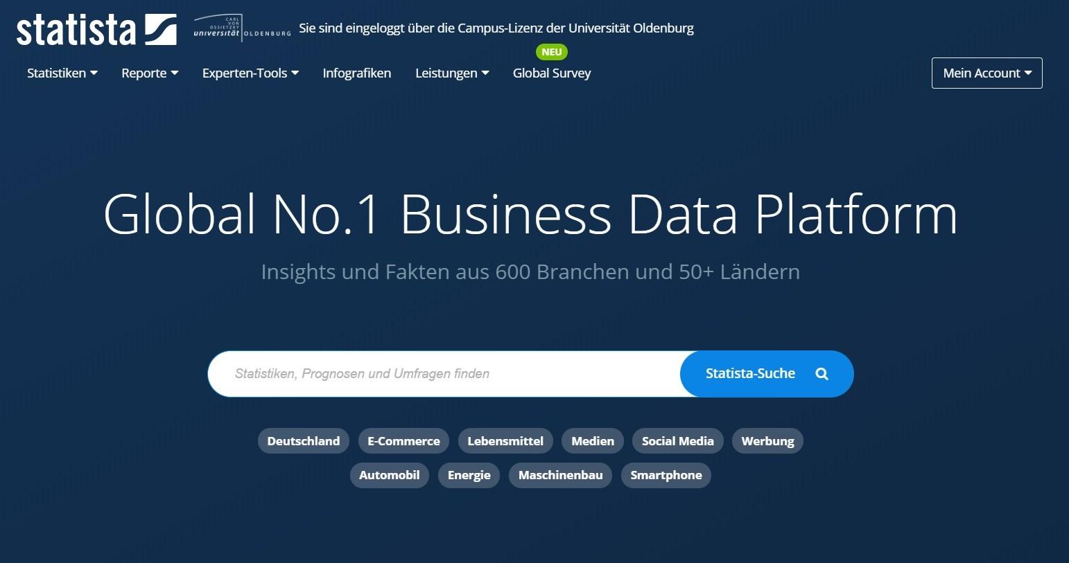 Landing Page Statista Business Data Platform